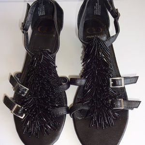 Womens Kelsi Dagger Black Sandals Shoes Flats 7.5